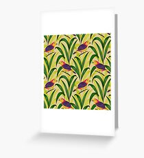 Seamless pattern with tropical birds and plants. Exotic flora and fauna. Greeting Card