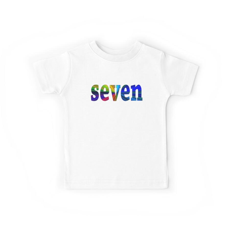 7 Years Old Happy 7th Birthday Number 7 Tshirt Kids Tees By