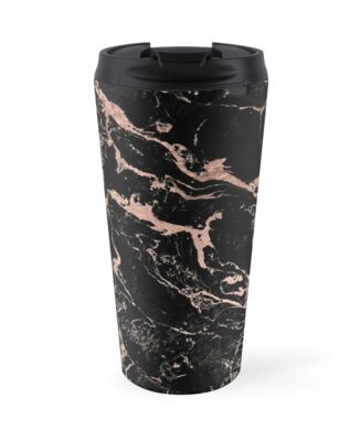 Modern Girly Faux Rose Gold Foil Black Marble Travel Mugs By