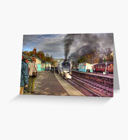 The Train Arriving - Grosmont North Yorkshire Greeting Card