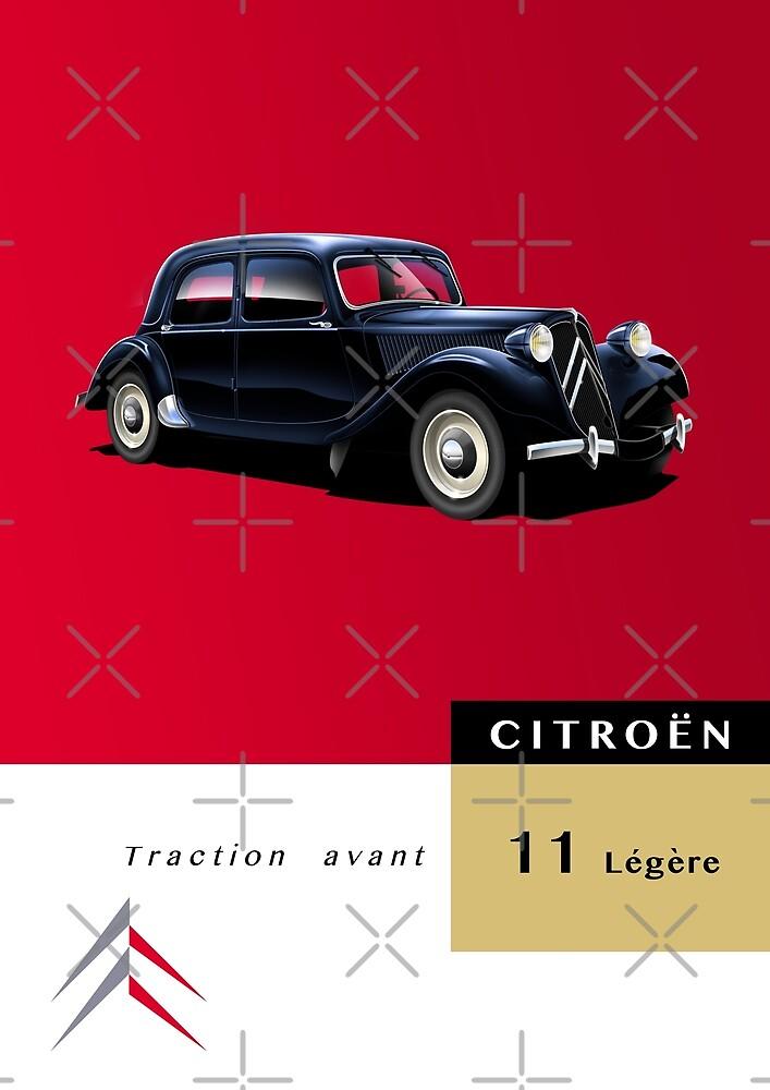 Citroen Traction Avant 11 Legere Artwork by RJWautographics