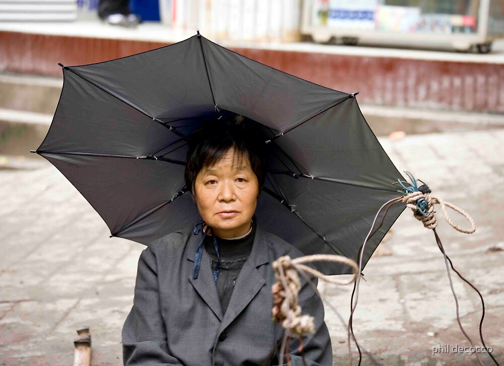 Umbrella Hat Lady by phil decocco