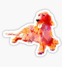 irish setter watercolor pet portrait | Red Sticker