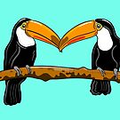 Toucans ( turquoise version ) by Adam Regester