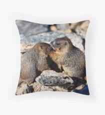 Marmot Babies Keeping Secrets Throw Pillow