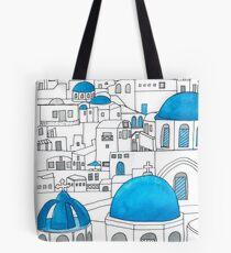 Santorini blaues und weißes Paradies Tote Bag