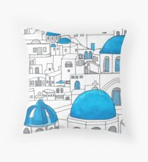 Santorini Blue and White Paradise Throw Pillow