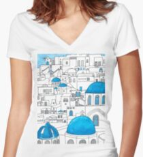 Santorini Blue and White Paradise Women's Fitted V-Neck T-Shirt