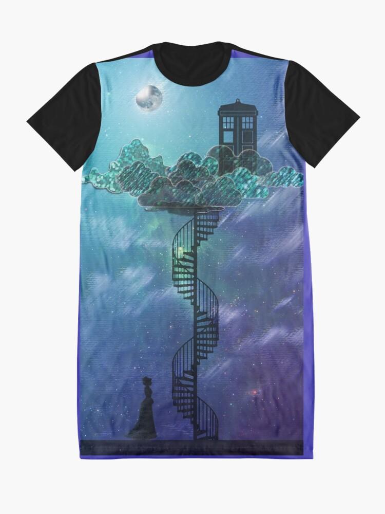 Vista alternativa de Vestido camiseta Caja azul en el cielo victoriano