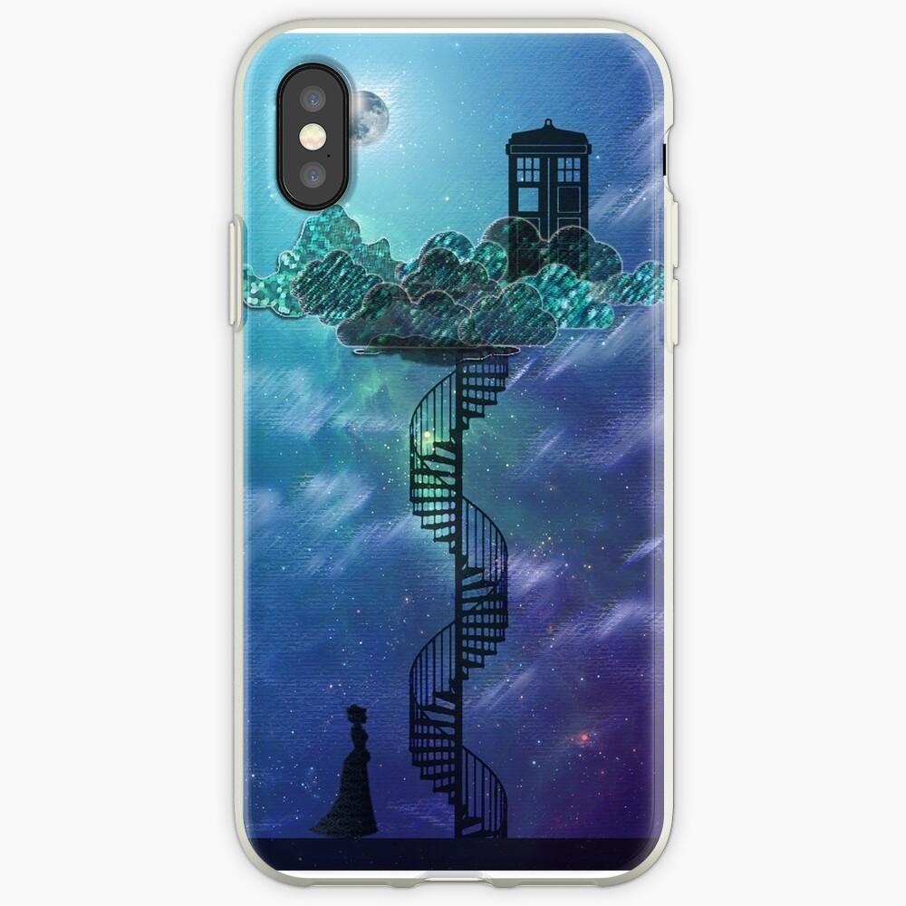 Caja azul en el cielo victoriano Funda y vinilo para iPhone