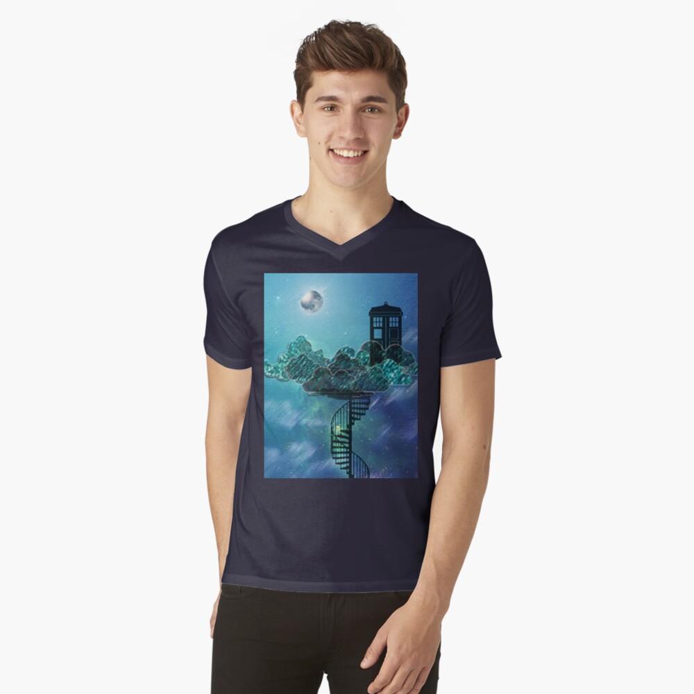 Caja azul en el cielo victoriano Camiseta de cuello en V