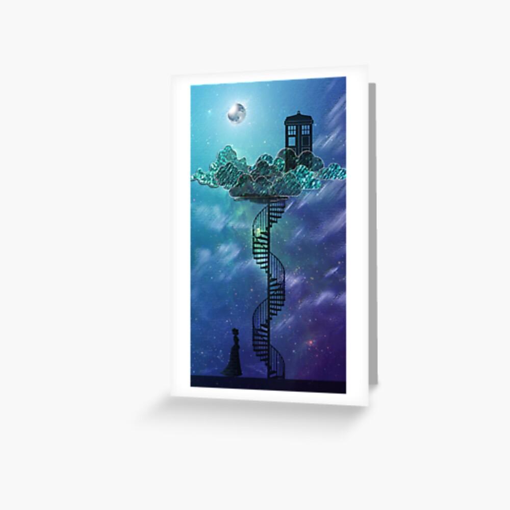 Caja azul en el cielo victoriano Tarjetas de felicitación