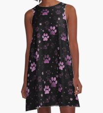 Pink Paw Prints A-Line Dress