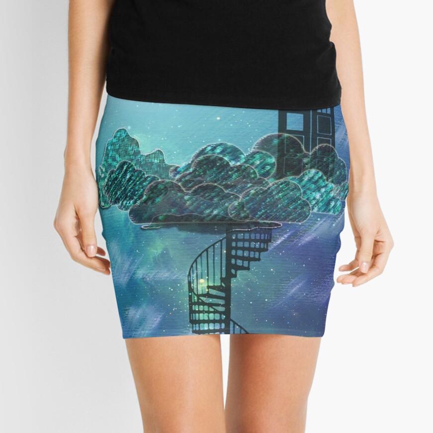 Caja azul en el cielo victoriano Minifalda