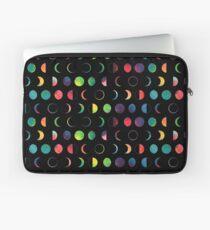 Rainbow Moon Phases - black background Laptop Sleeve