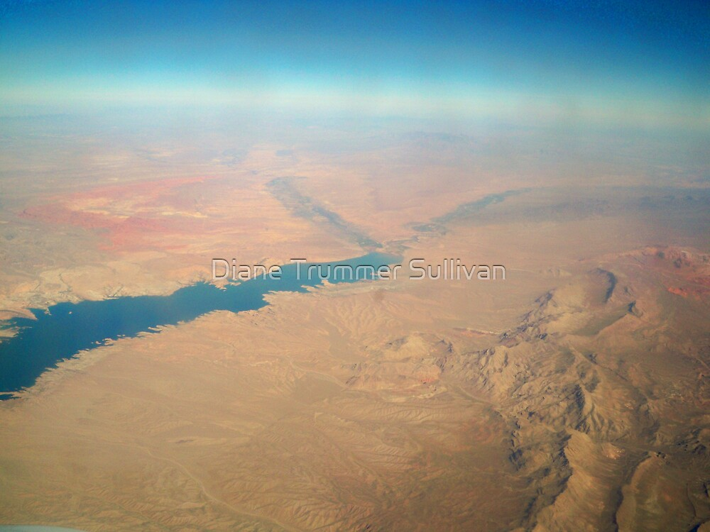 View from Airplane window Lake Mead & Mountains by Diane Trummer Sullivan