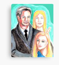Mulder and Scully are photobombed by a Pleiadian Alien Canvas Print