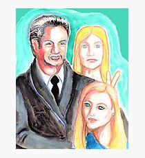 Mulder and Scully are photobombed by a Pleiadian Alien Photographic Print