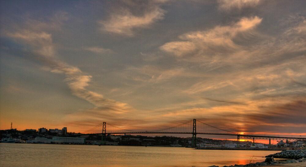 the MacDonald Bridge at dusk by Cameron  Allen Lamond