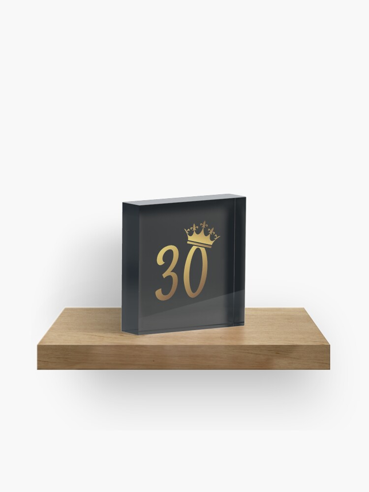 30th Birthday Queen 30 Year Old Girl Gold Party Gift Acrylic Block