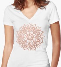 Rose Gold Mandala Women's Fitted V-Neck T-Shirt