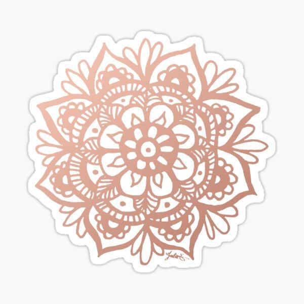 Rose Gold Mandala Flower Glossy Sticker