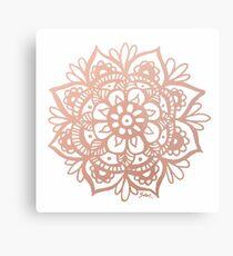 Lienzo metálico Mandala de oro rosa