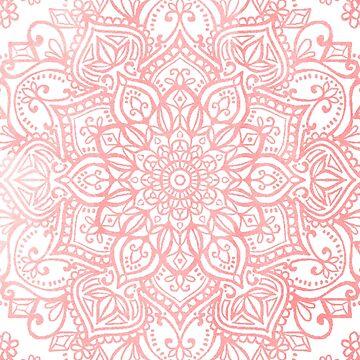 Light Pink Boho Mandala Tapestry Pattern by aterkaderk