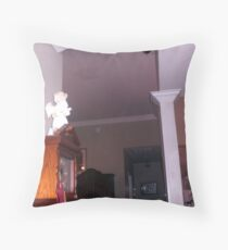 Number  3  in 3 pictures with orbs moving in the living room Throw Pillow