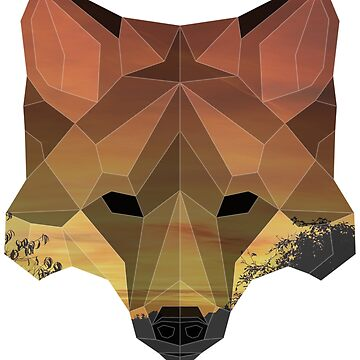 Low Poly Double Exposure Fox Portrait by yajyolid