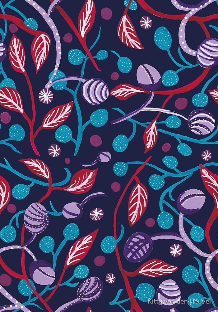Folk art gouache painting repeat pattern by Kitty van den Heuvel