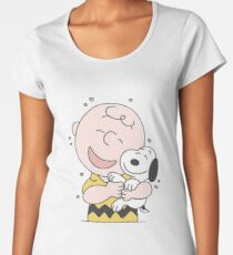 charlie brown and snoopy a hug Women's Premium T-Shirt