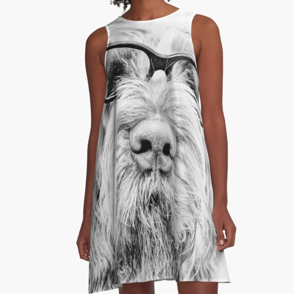 Brown Roan Italian Spinone Dog Wearing Glasses A-Line Dress