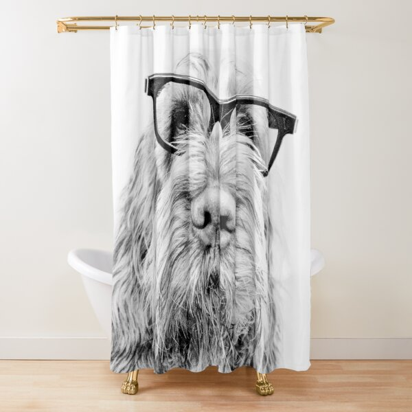 Brown Roan Italian Spinone Dog Wearing Glasses Shower Curtain