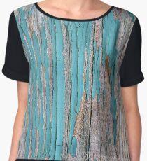 Shabby rustic weathered wood turquoise Chiffon Top