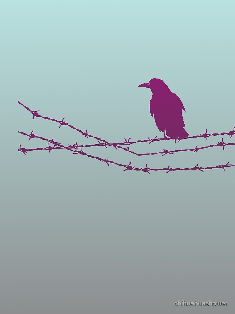 Bird on barbed wire in pastel by chihuahuashower