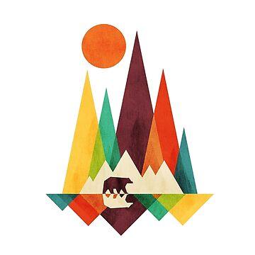 Flat Geometric Mountain Bear by goodgoodgoofboy