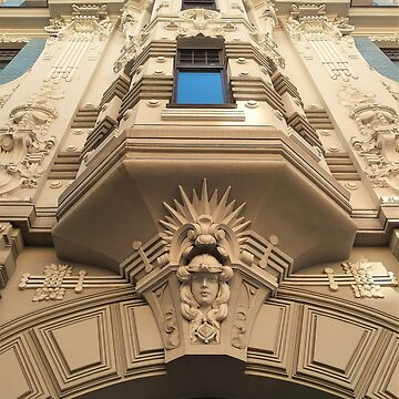 Looking up at stunning Art Nouveau architecture in Riga by TalBright