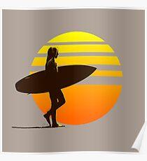 Golden Sunrise Surfer Girl Poster