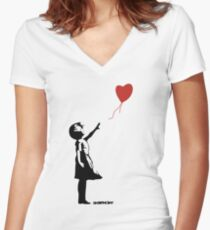 Banksy - Girl Red Balloon Women's Fitted V-Neck T-Shirt