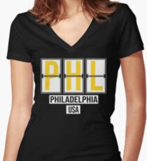 PHL - Philadelphia Airport Code Souvenir or Gift Shirt Women's Fitted V-Neck T-Shirt