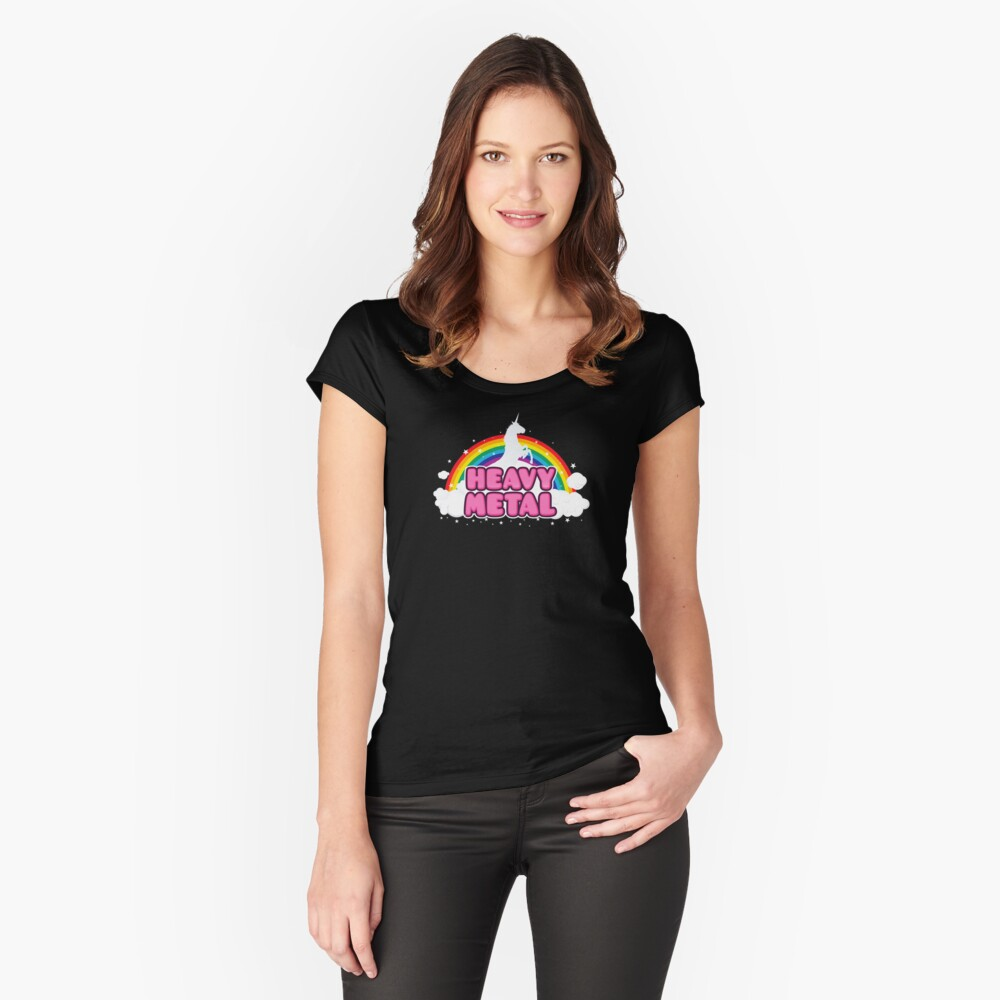 HEAVY METAL! (Funny Unicorn / Rainbow Mosh Parody Design) Fitted Scoop T-Shirt