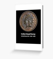 Indian Head Penny - Coin Collector Collecting Greeting Card
