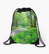 Lovely green pathway to the ANZAC War Museum, Thailand Drawstring Bag