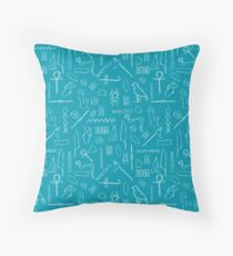 Teal Hieroglyphs Throw Pillow