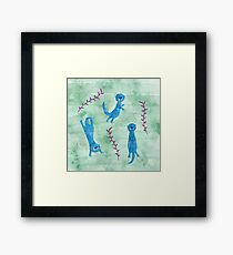 Swimming Otters Framed Print