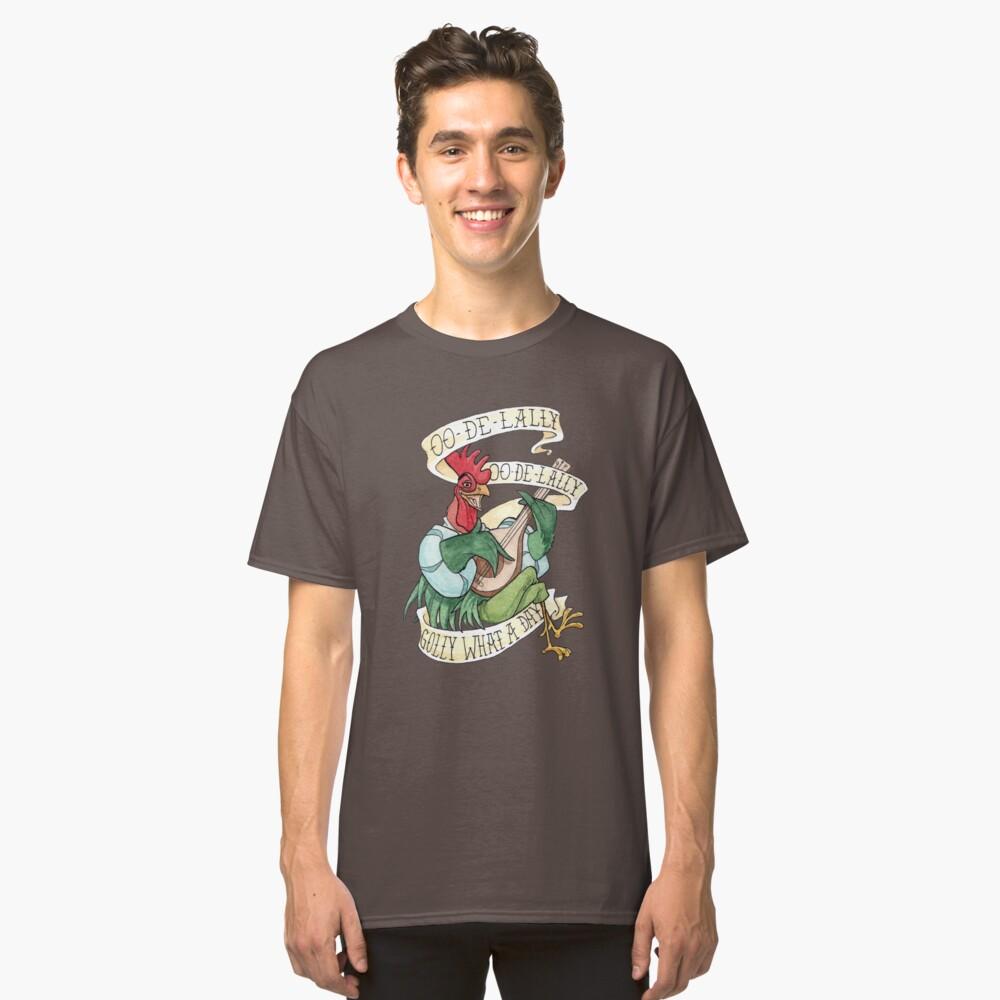 Camiseta clásicaAlan-A-Dale Gallo: OO-De-Lally Golly Qué día tatuaje Acuarela Robin Hood Delante