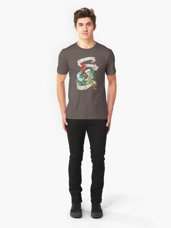 Vista alternativa de Camiseta ajustada Alan-A-Dale Gallo: OO-De-Lally Golly Qué día tatuaje Acuarela Robin Hood