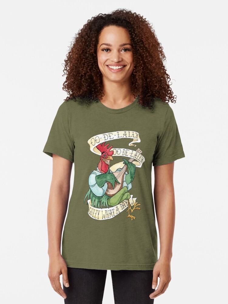 Vista alternativa de Camiseta de tejido mixto Alan-A-Dale Gallo: OO-De-Lally Golly Qué día tatuaje Acuarela Robin Hood