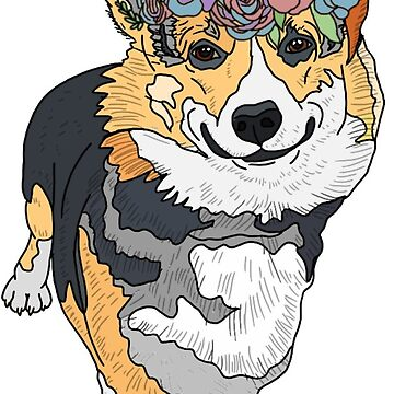 cute corgi with flower crown by andilynnf